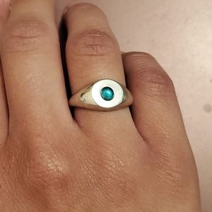 Sterling Silver Ring with Round Emerald Cabochon 8